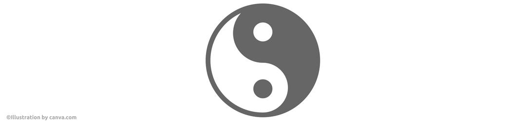 Illustration via canva.com Entspannung lernen mit Lachyoga - Yin und Yang