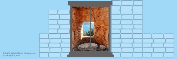 Foto und Grafik Kathrin Stamm via canva.com Mauern oder Fenster in Gesprächen? Der wertschätzende Kommunikationsstil. Coaching Oase Heartify.